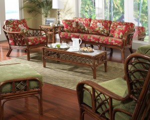 Classic Rattan Grand Isle Sofa and Lounge Chair Set with Coffee Table