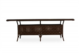 """Lloyd Flanders Haven 84"""" Rectangular Umbrella Dining Table with Lay on Glass"""