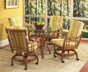 Classic Rattan Spring Lake Swivel Tilt Caster Dining Set