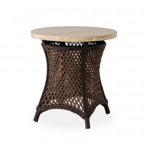 """Lloyd Flanders Grand Traverse 24"""" Round Table with Light Travertine Top"""