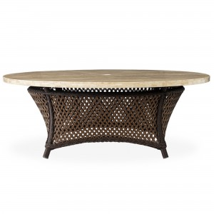 """Lloyd Flanders Grand Traverse 48"""" Round Umbrella Chat Table with Light Travertine Top"""