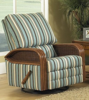 Classic Rattan Bodega Bay Recliner Swivel Rocker Chair