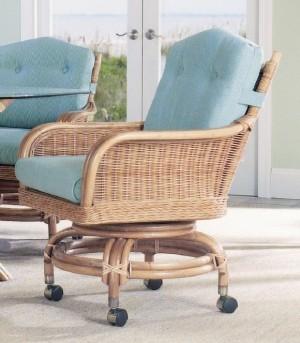 Classic Rattan Bodega Swivel Tilt Caster Dining Chair
