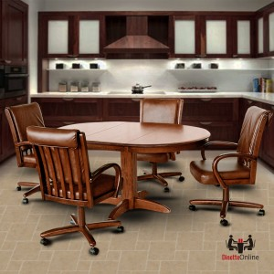 Chromcraft C177-936 and T250-607 Swivel Tilt Caster Solid Wood Dining Set