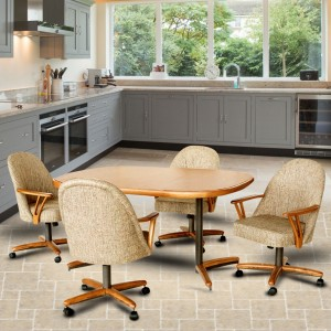 Chromcraft C127-945 and T324-465 Swivel Tilt Caster Chair Dinette Set