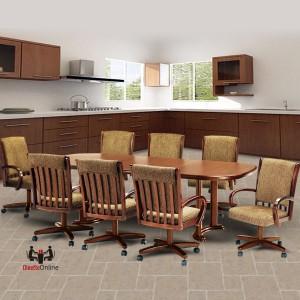 Chromcraft C177-936 & T224-85 9PC Swivel Tilt Caster Dining Set