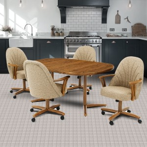 Chromcraft C127-946 and T324-466 Swivel Tilt Caster Chair Dinette Set