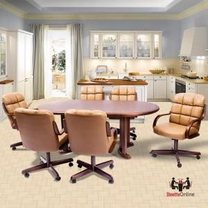 Douglas Casual Living Joan Swivel Tilt Caster 7 PC Laminate Dining Set