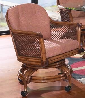 Classic Rattan Lake House Swivel Tilt Rocker Caster Chair
