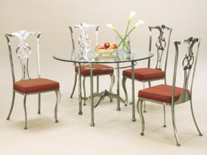 Johnston Casuals Princeton Round Glass Top Dining Set, 4 Chairs 2711, Table 2733B, GL43