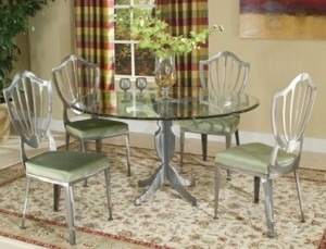 Johnston Casuals Williamsburg Glass Top Dining Set Table 4633B, GL-43 Glass, 4 Chairs 4611