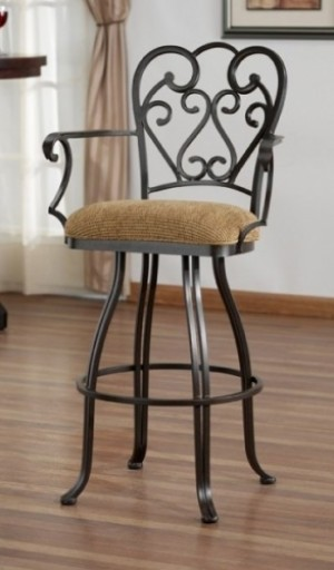 "Tempo Like Veronica 34"" Swivel Valencia Bar Stool with Arms by Callee"