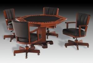I.M. David Furniture 1109GC and 5499 Table Swivel Tilt Caster Flip Top Game Set