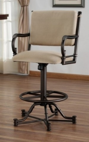 "Tempo Like Bullseye 30"" Burnet Swivel Tilt Wide Body Bar Stool with Arms by Callee"