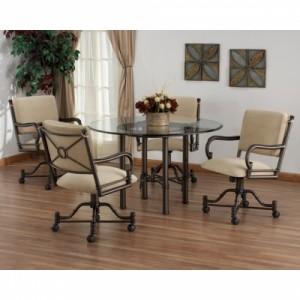 Tempo Like Bullseye Swivel Tilt Caster Burnet Dinette Set w 48 Round Glass Top by Callee