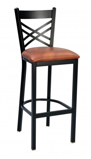 "Commercial Cross Back Metal 30"" Bar Stool"