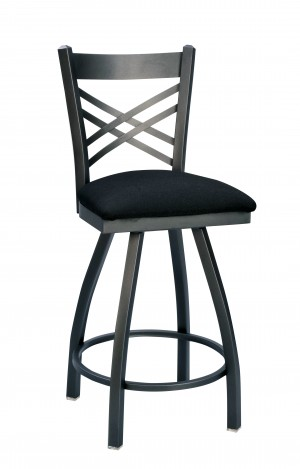 "Commercial Cross Back Metal 24"" Swivel Bar Stool"