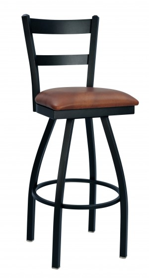 "Commercial Ladder Back 2 Slat Metal Swivel 30"" Bar Stool"