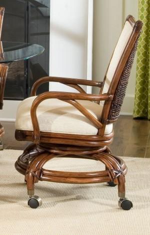 Classic Rattan Raffles Swivel Tilt Caster Dining Chair