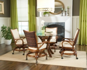 Classic Rattan Raffles Swivel Tilt Rocker Table Dining Set