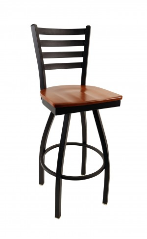 "Commercial Ladder Back Metal Swivel 30"" Bar Stool"