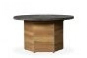 """Lloyd Flanders Universal Teak 48"""" Hexagonal Fire Table w/Faux Concrete Top"""