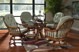 Classic Rattan Walnut Grove Swivel Tilt Roller Dining Set