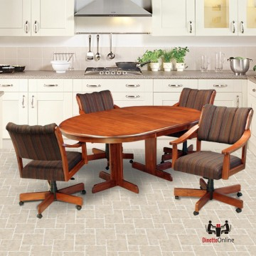 CR Joseph 5004GC Swivel Tilt Dining Set with Caster Chairs