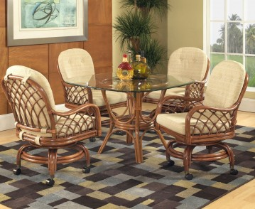 Classic Rattan Grand Isle Caster Dining Set