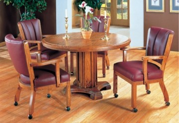 I.M. David 5 PC 1109 Caster Chairs with 5217 Pedestal Table Dining Set