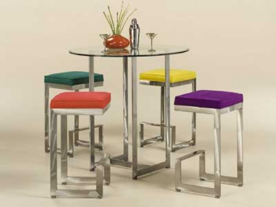 Counter Height Table Set Glass Contemporary Pub Table Set